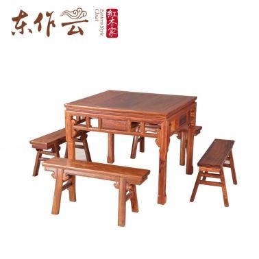 非洲花梨小八仙桌(配板凳)五件套