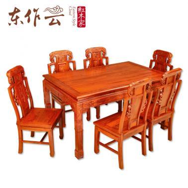 非洲花梨象头如意餐桌七件套