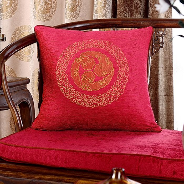 定制现代中式新古典婚庆抱枕办公室靠垫红木沙发靠枕圈椅坐垫椅垫图片