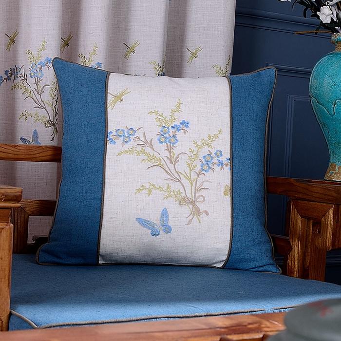 定制中式古典抱枕红木沙发靠垫中国风靠枕圈椅坐垫棉麻腰靠