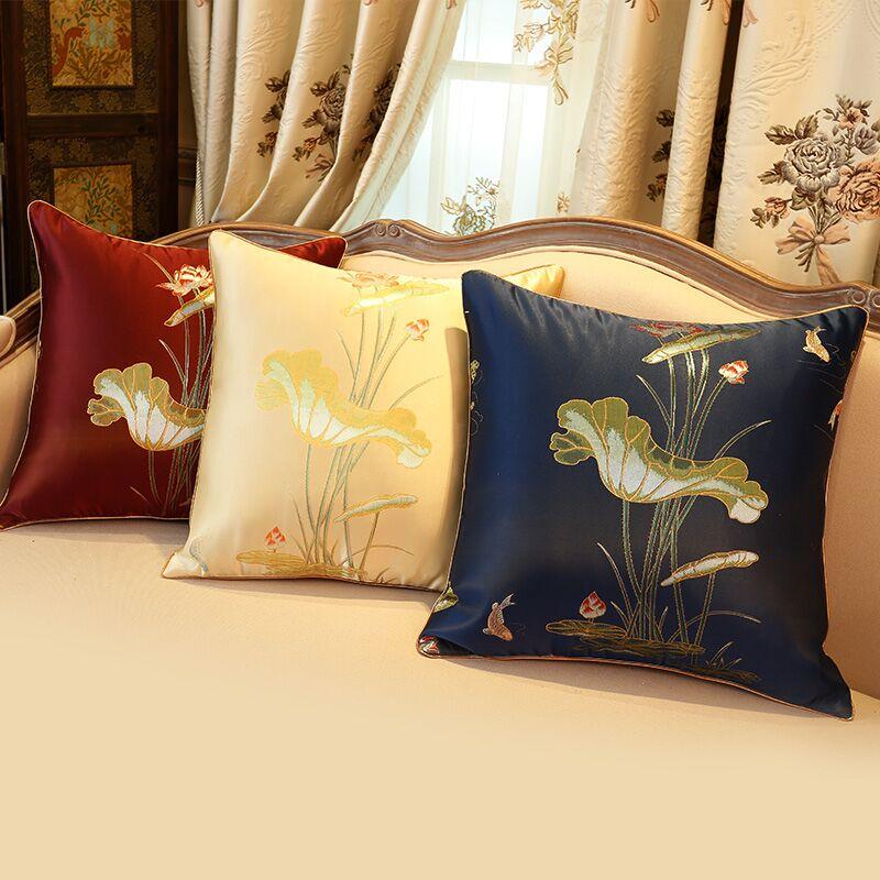 定制新中式荷花靠枕现代沙发靠垫抱枕套办公室腰靠含芯包邮靠垫图片