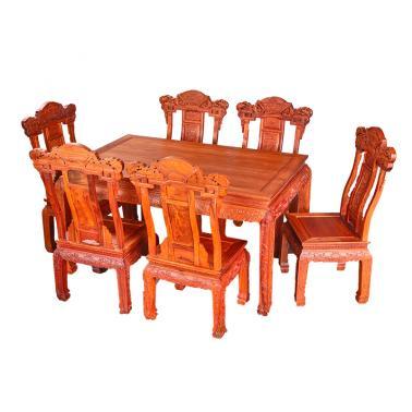 缅甸花梨和谐餐桌七件套